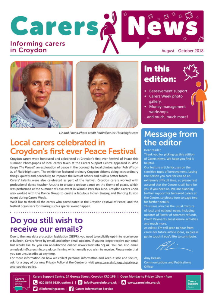 Carers News August to October 2018 front cover