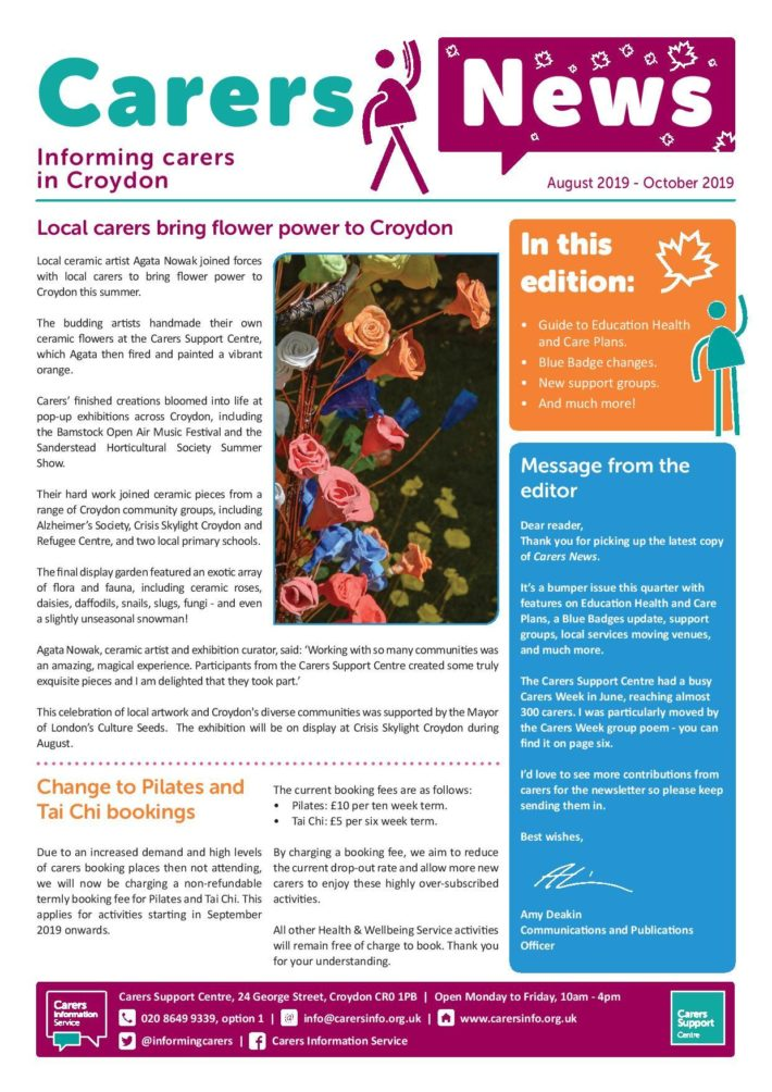 image of front cover of Carers News August to October 2019