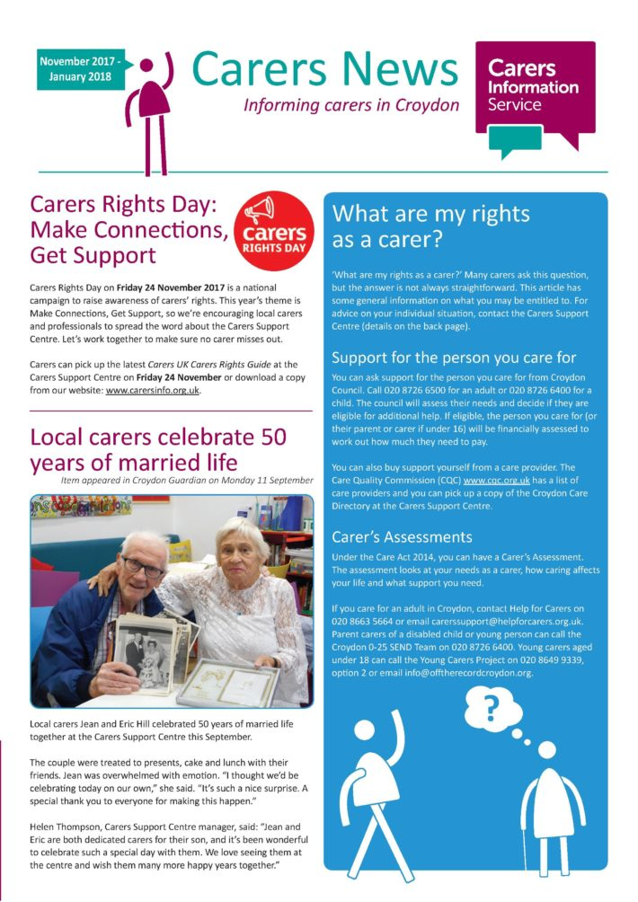 image of front cover of Carers News Nov 2017 to Jan 2018