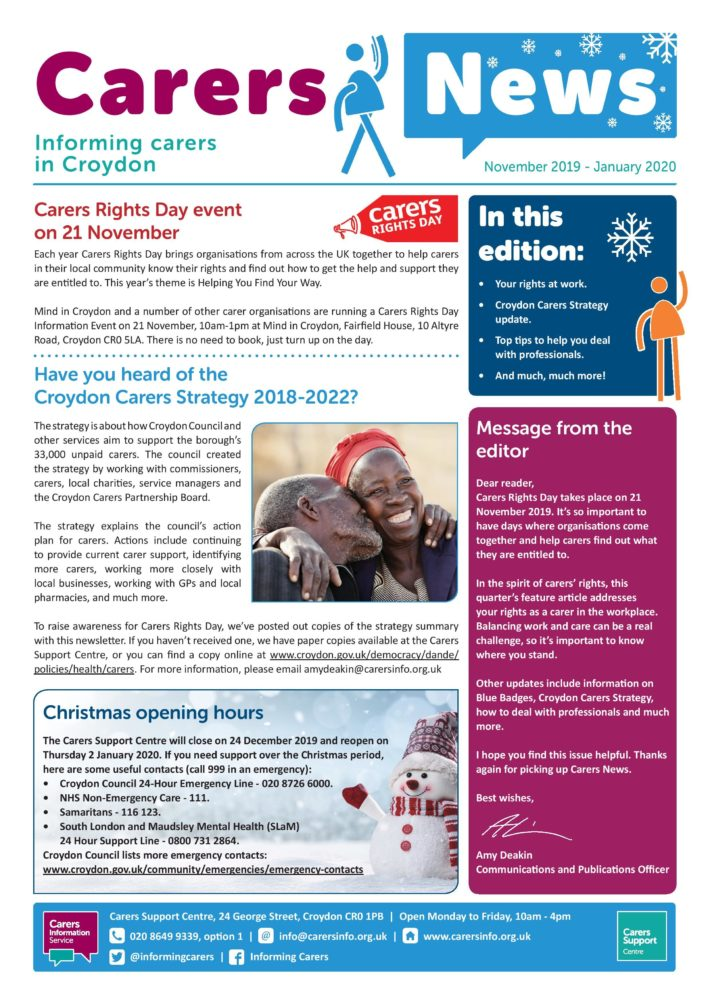 carers news front cover November 2019 to January 2020