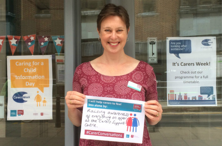 Helen Thompson with Carers Week pledge