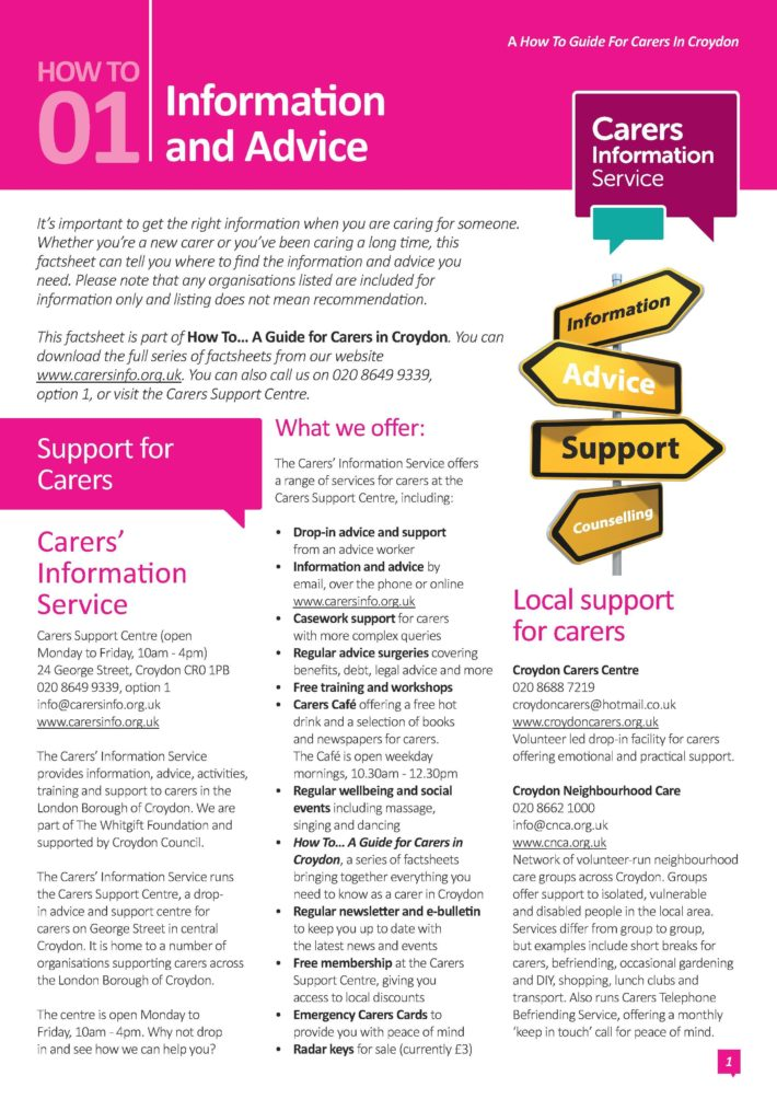 information and advice factsheet cover