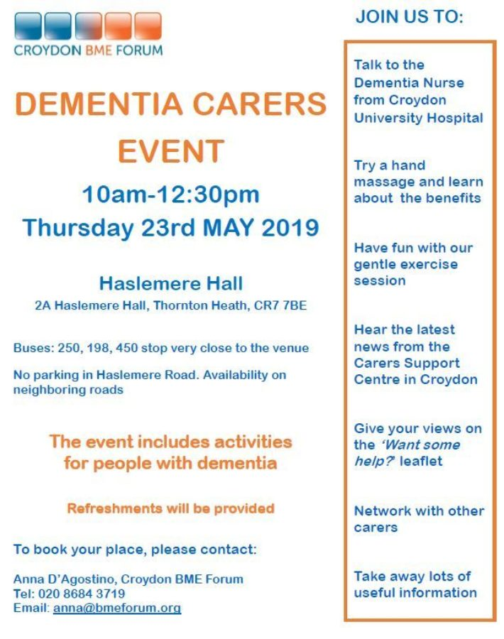 dementia carers event poster