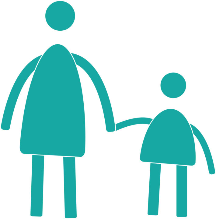 adult character holding the hand of child character